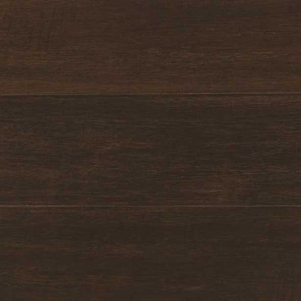 Hand Scraped Wire Brushed Strand Woven Chai 3/8 in. T x 5-1/8 in. W x 72 in. L Engineered Click Bamboo Flooring, Dark - Home Depot