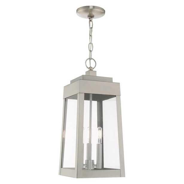 Livex Lighting Oslo Medium 3-Light Brushed Nickel Outdoor Pendant Lantern - Home Depot