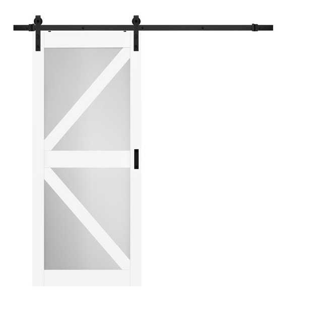 TRUporte 36 in. x 84 in. Bright White MDF Frosted Glass K Design Barn Door with Rustic Sliding Door Hardware Kit - Home Depot