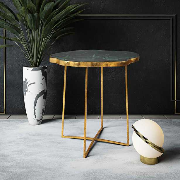 Lily Gold Iron and Agate Top Side Table - Style # 64N19 - Lamps Plus