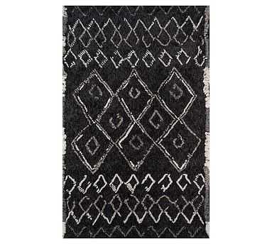 Heron Tufted Rug, 9 x 12', Black - Pottery Barn