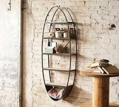Metal And Wood Oval Wall Shelf - Pottery Barn