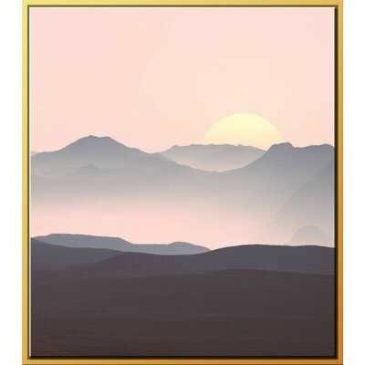 'Navy Pink Sunset II' Framed Graphic Art on Canvas - AllModern