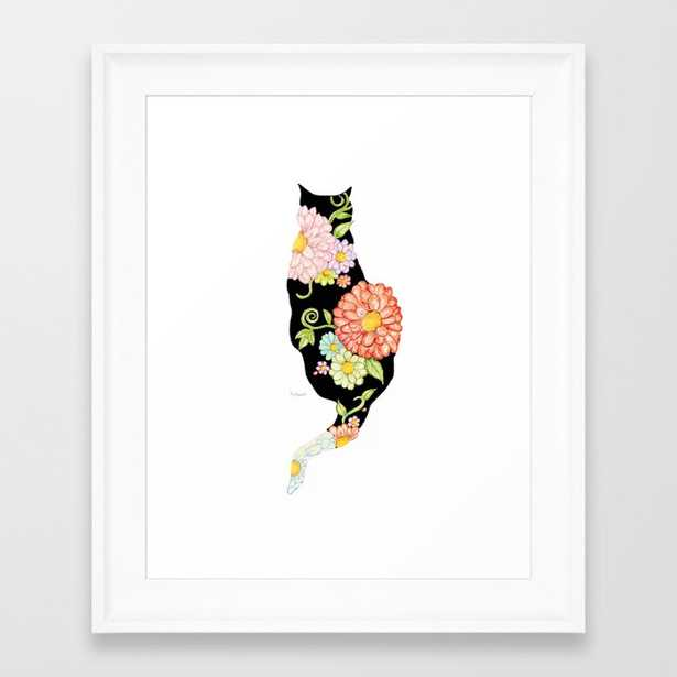"""Exotic Floral Black Cat Silhouette - 10""""x 12"""" - Society6"""