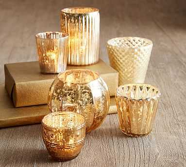 Eclectic Mercury Votive, Gold - Set Of 6 - Pottery Barn