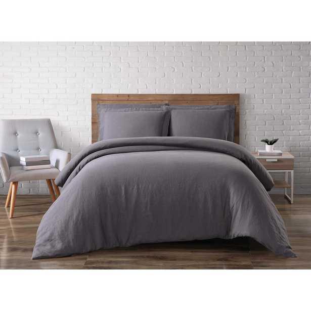 Linen Charcoal (Grey) King Duvet Set - Home Depot