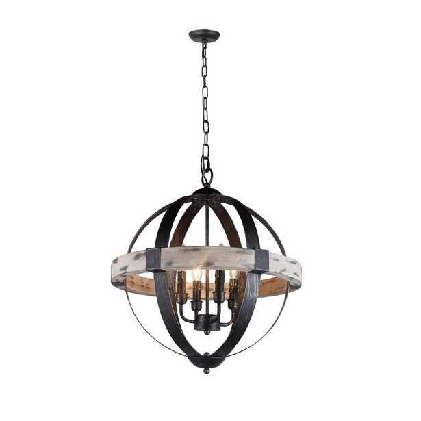 Y Decor Zeus 4-Light Distressed Black Chandelier with Wood and Steel Frame - Home Depot