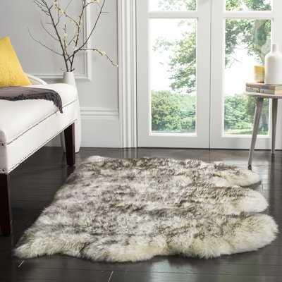 Dax Animal Print Handmade Sheepskin Ivory/Smoke Grey Area Rug - AllModern