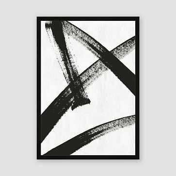 "Framed Prints - Abstract Ink Brush - Running Man, 29"" X 40"" - West Elm"