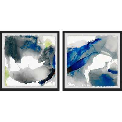 'Colored Clouds Diptych' 2 Piece Framed Watercolor Painting Print Set - Wayfair
