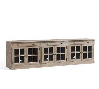 Livingston Large TV Stand with Glass Doors, Gray Wash - Pottery Barn
