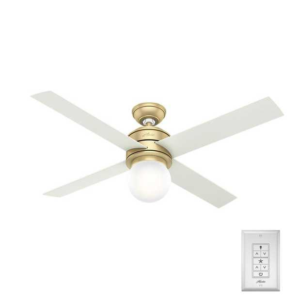 Hunter Hepburn 52 in. LED Indoor Modern Brass Ceiling Fan - Home Depot