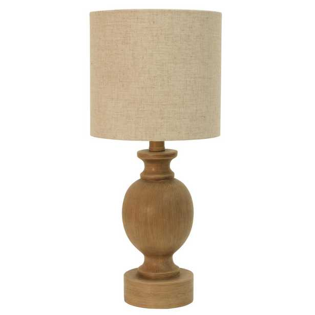 Decor Therapy Farmhouse Barrel 19.25 in. Beige Table Lamp with Shade - Home Depot