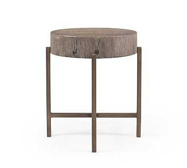 Fargo Round Reclaimed Wood End Table, Distressed Gray/Patina Copper - Pottery Barn