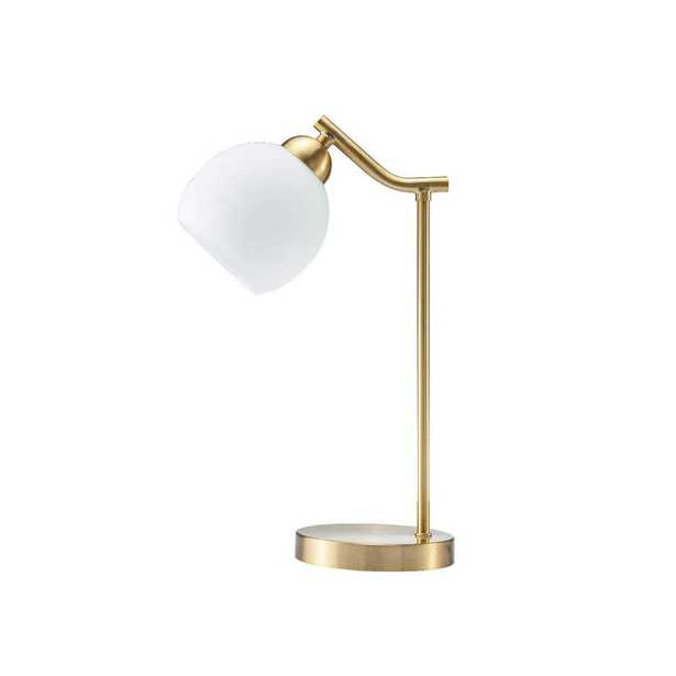 UrbanFlip Modn 18 in. Gold Metal Indoor Table Lamp with Glass White Shade - Home Depot