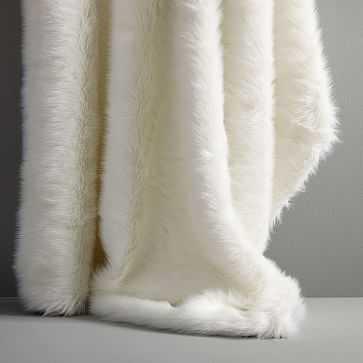 Mink Faux Fur Throw, Stone White - West Elm