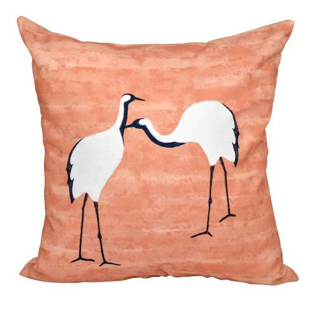 E by Design 16 in. x 16 in. Coral (Pink) Stilts Animal Print Pillow Coral - Home Depot