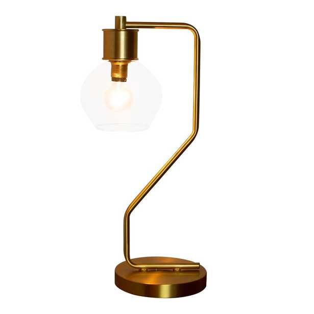 River of Goods 19 in. Brushed Gold Table Lamp with Glass Shade - Home Depot