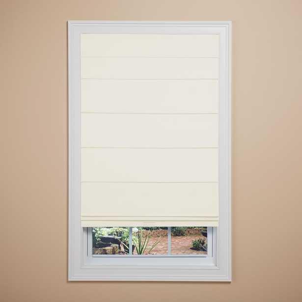Elegant Home Fashions Bone (Ivory) Room Darkening Cordless Fabric Roman Shade - 35 in. W x 64 in. L - Home Depot