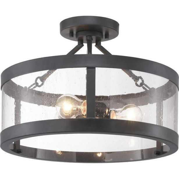 Progress Lighting Gresham Collection 3-Light Graphite Semi- Flush Mount - Home Depot