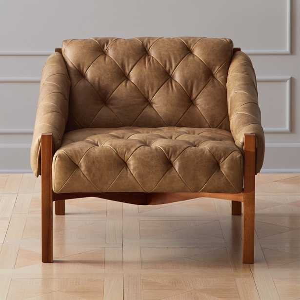 Abruzzo Brown Leather Tufted Chair - CB2