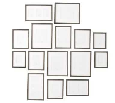 Wood Gallery in a Box Frames, Graywash - Set of 15 - Pottery Barn