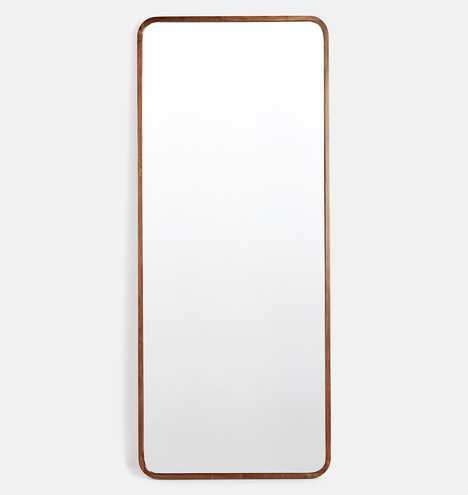 Solid Walnut Rounded Floor Mirror - Rejuvenation