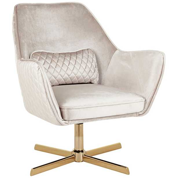 Diana Champagne Velvet and Gold Metal Swivel Lounge Chair - Style # 67W69 - Lamps Plus