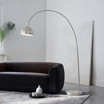 Overarching Metal Shade Floor Lamp, Nickel - West Elm