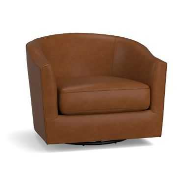 Harlow Leather Swivel Armchair without Nailheads, Polyester Wrapped Cushions, Burnished Bourbon - Pottery Barn