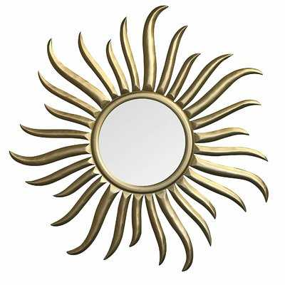 Brazell Hand-Carved and Gilded Wood Sun Accent Mirror - Wayfair