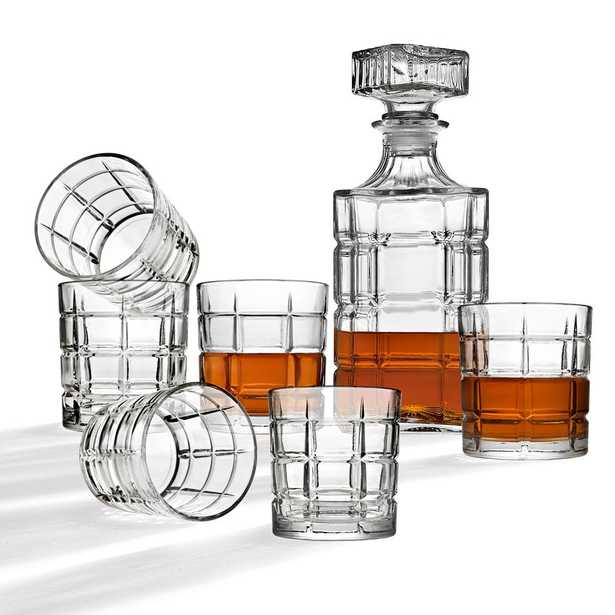 Clear Crystal Decanter and Cocktail Glass Set (Set of 7) - Home Depot