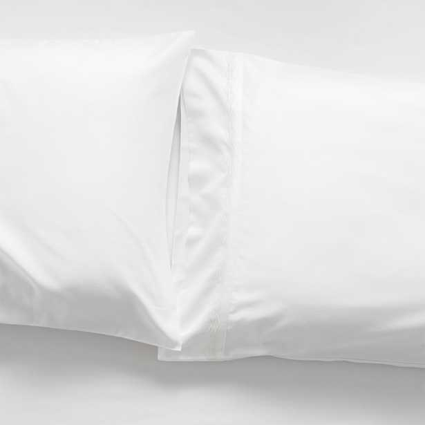 Sateen 600 Thread Count White King Pillowcases, Set of 2 - Crate and Barrel