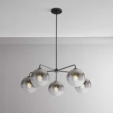 Sculptural Glass 5-Light Round Globe Chandelier, Small, Globe Silver Ombre Shade, Bronze Canopy - West Elm