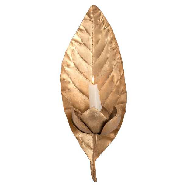 Frond Regency Gold Leaf Candle Sconce - Kathy Kuo Home