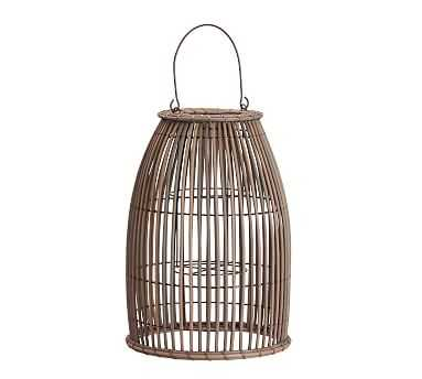 Careyes All-Weather Outdoor Wicker Lantern, Grey - Small - Pottery Barn