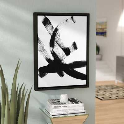 Brush Stroke I by Linda Woods - Floater Frame Print on Canvas - AllModern