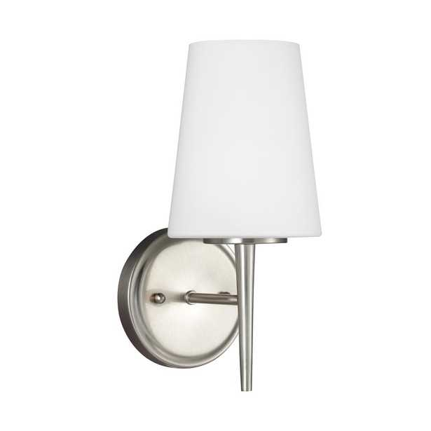 Sea Gull Lighting Driscoll 1-Light Brushed Nickel Sconce with LED Bulb - Home Depot