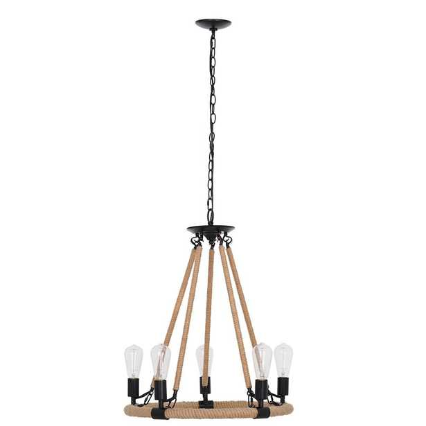 Cresswell 27.50 in. Matte Black Modern Rustic Farmhouse Chandelier and LED Bulb - Home Depot