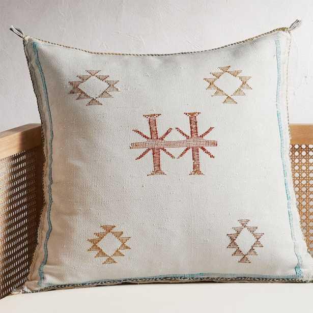 "23"" Cactus Silk White Pillow with Down-Alternative Insert - CB2"