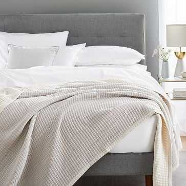 Double Cloth Blanket, King, Stone Gray - West Elm