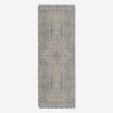 Indra Rug, Indigo, 2.5'x7' - West Elm