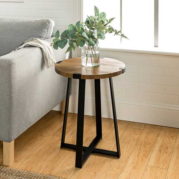 Metal Wrap Round Side Table with Rustic Oak Top - Style # 64J64 - Lamps Plus