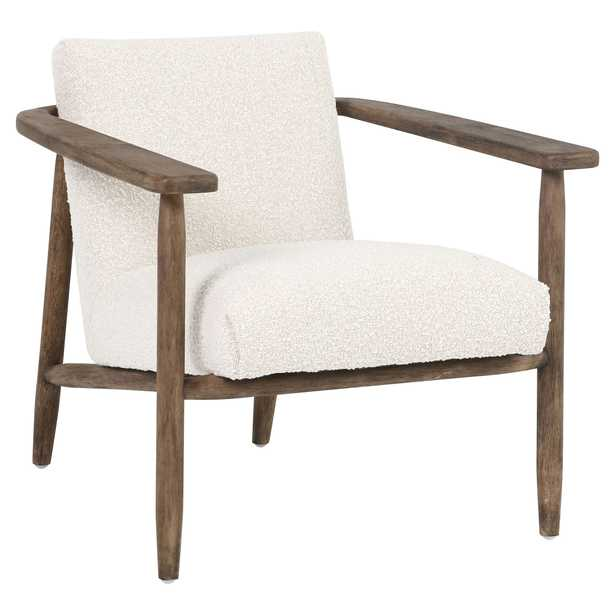 Arianne Modern Classic Ivory Cushion Brown Wood Arm Chair - Kathy Kuo Home