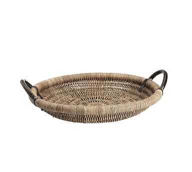 Round Woven Tray with Handles, Gray/Bronze - Medium - Pottery Barn