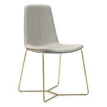 Slope Dining Chair, Antique Brass Leg, Basket Slub, Feather Gray, Antique Brass - West Elm
