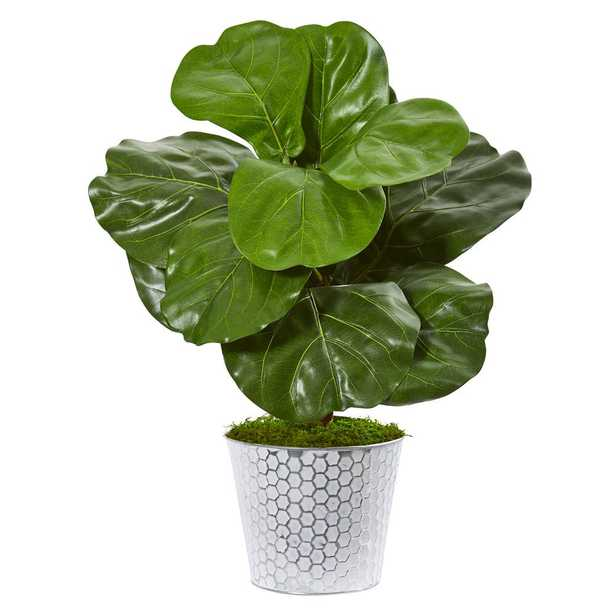 Nearly Natural 22 in. Fiddle Leaf Artificial Plant in Decorative Planter - Home Depot