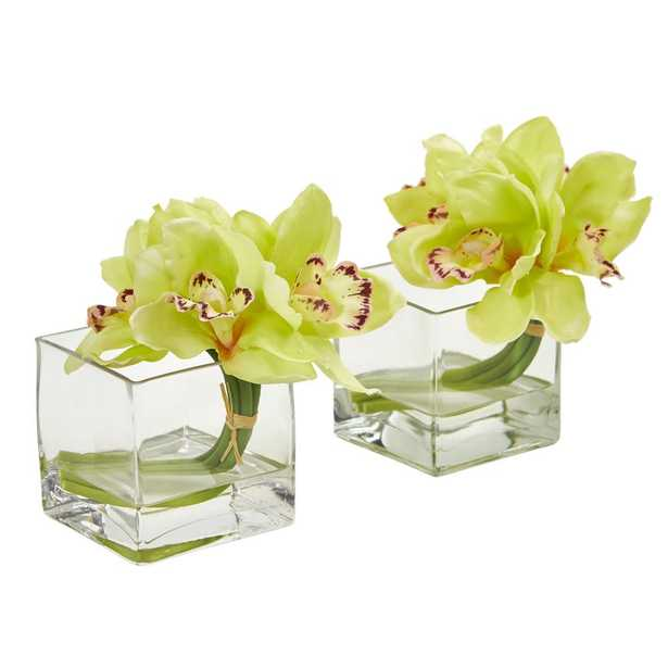 Nearly Natural Indoor Cymbidium Orchid Artificial Arrangement in Glass Vase (Set of 2) - Home Depot