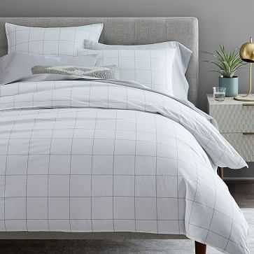 Organic Washed Cotton Windowpane Duvet Cover, Full/Queen, White/Midnight - West Elm