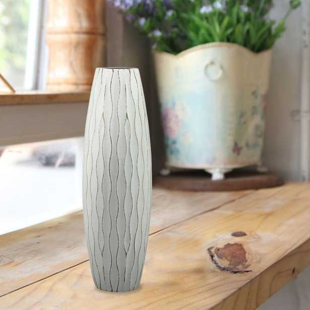 10 in. Wood Decorative Vase in Weathered Pale Ocean, Blue - Home Depot